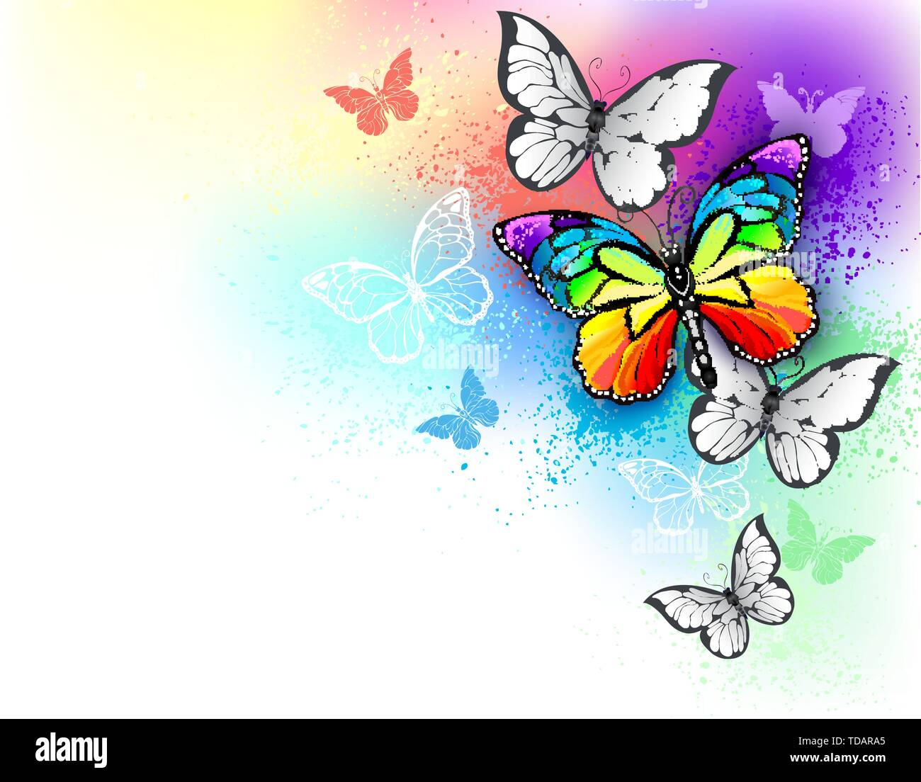 Background with bright paint, colors and flying realistic, rainbow and white butterflies. - Stock Image