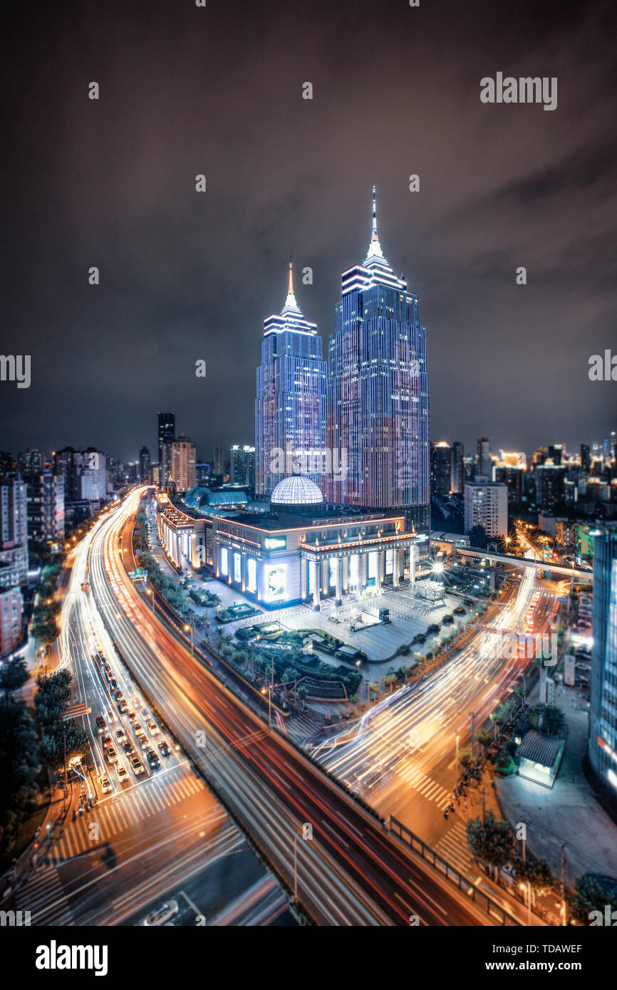 Night view of the landmark building of the Global Port in Putuo District, Shanghai Stock Photo
