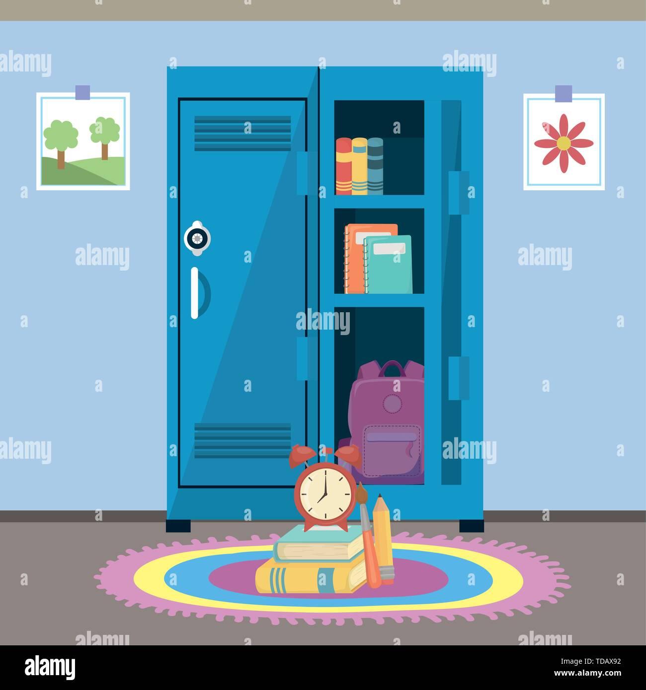 Locker design, School supply object education study lesson