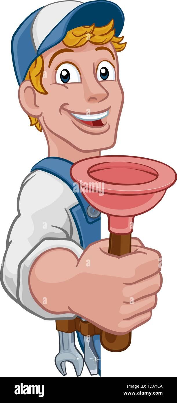 Plumber Cartoon Plumbing Drain Plunger Handyman Stock Vector Image Art Alamy