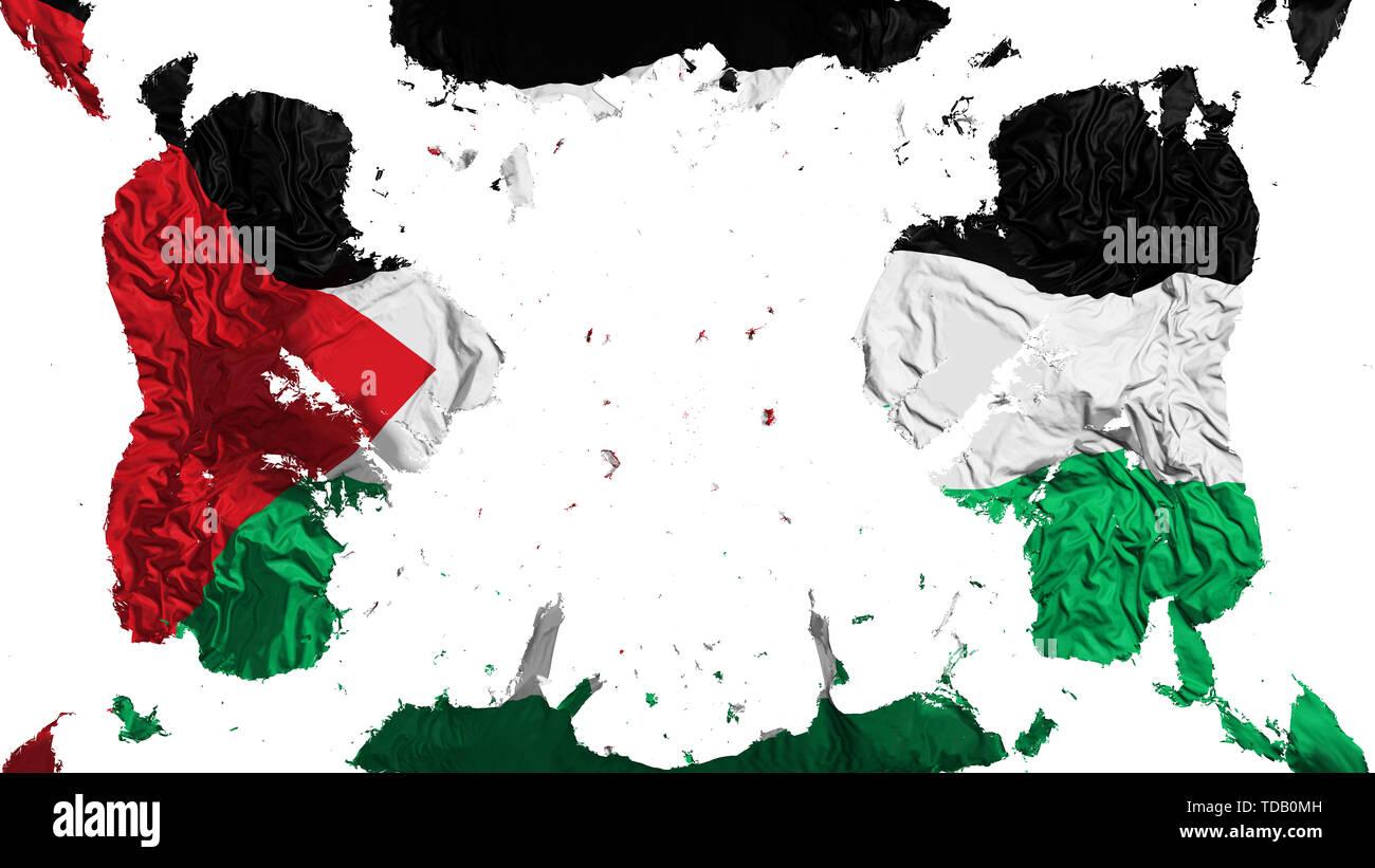 Scattered Sahrawi Arab Democratic Republic flag, white background, 3d rendering - Stock Image