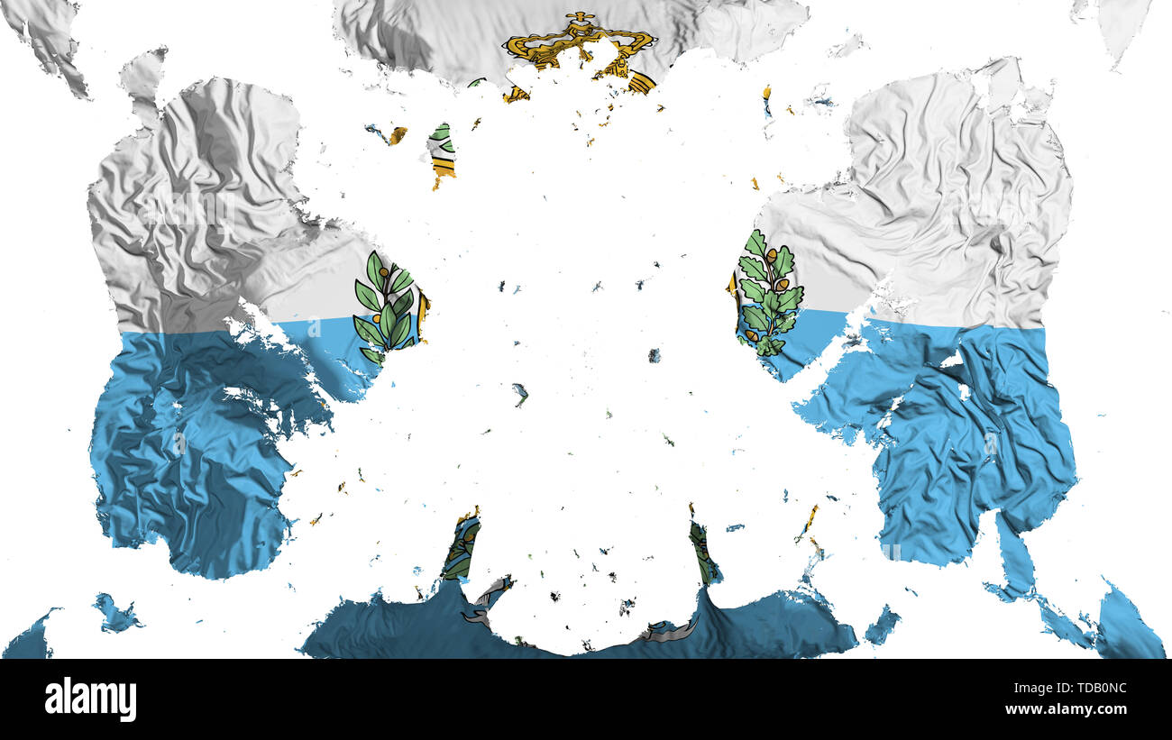 Scattered San Marino flag, white background, 3d rendering - Stock Image