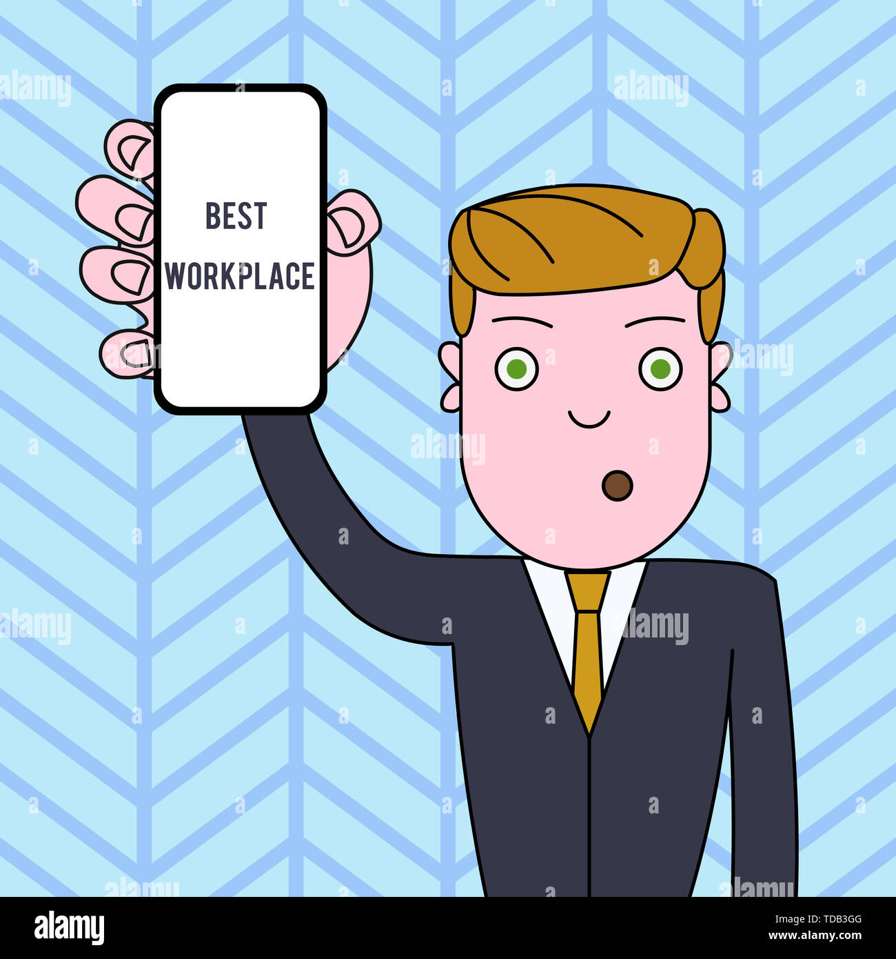 Conceptual hand writing showing Best Workplace. Concept meaning Ideal company to work with High compensation Stress free Man Holding Vertical Smartpho - Stock Image