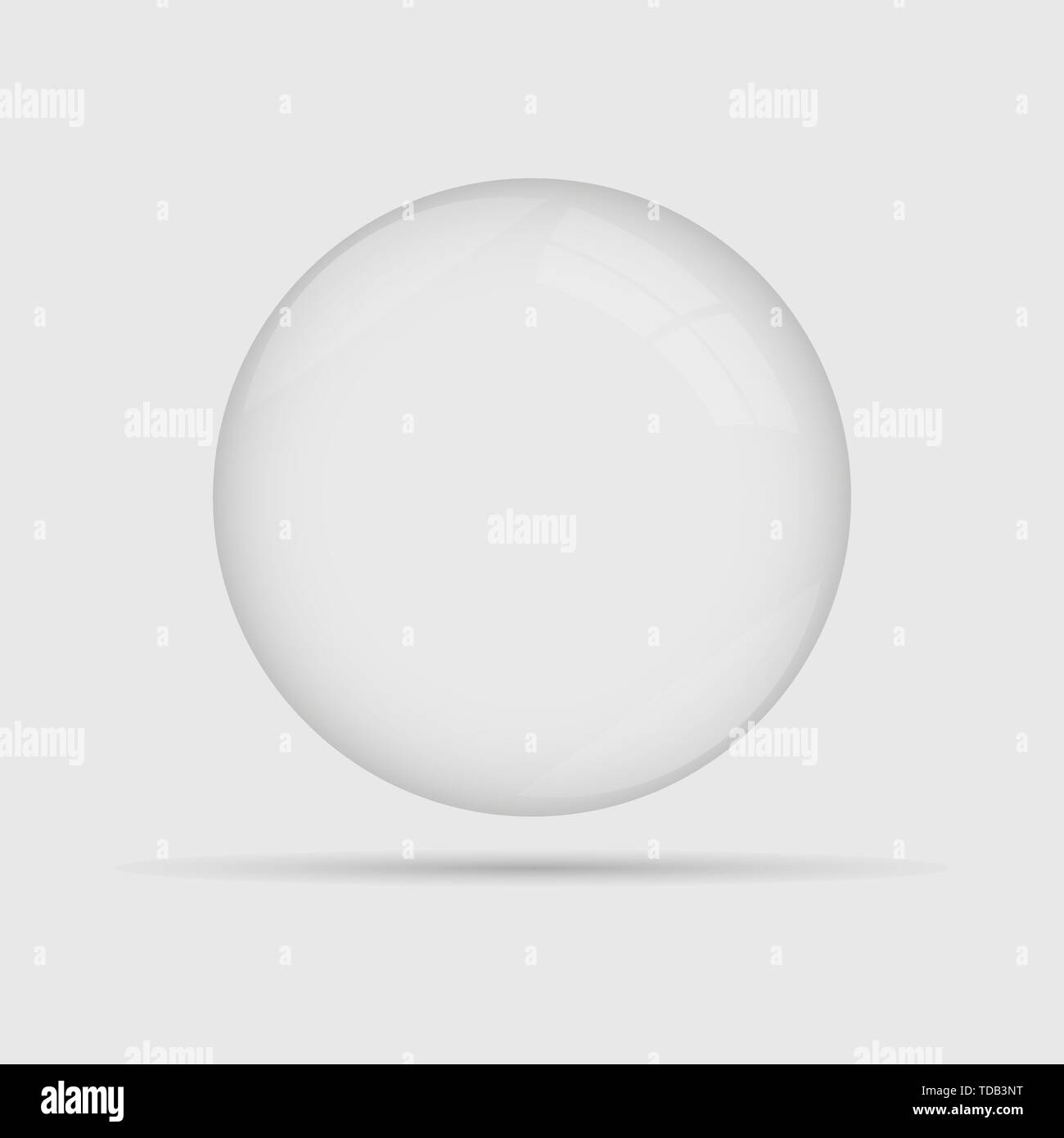 Glass sphere ball isolated on grey back - Stock Image