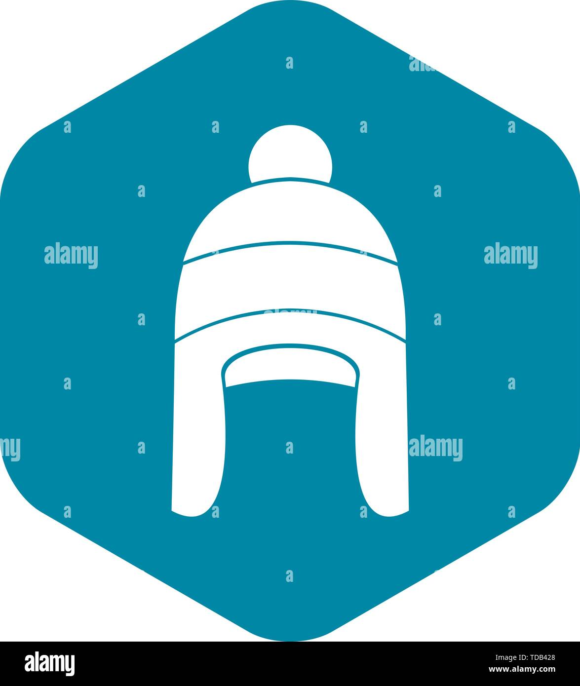 Winter hat icon in simple style - Stock Vector