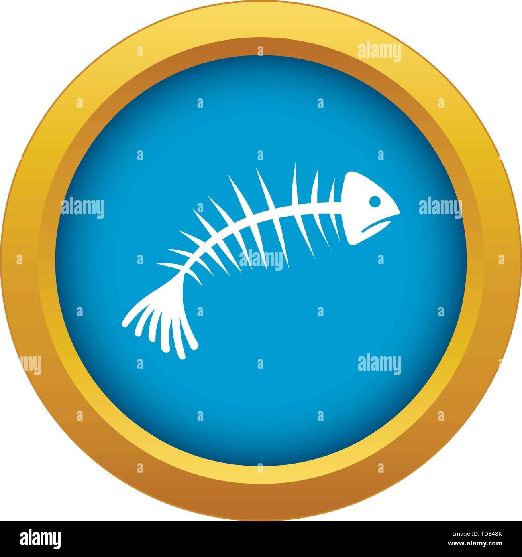 Fish bones icon blue vector isolated - Stock Image