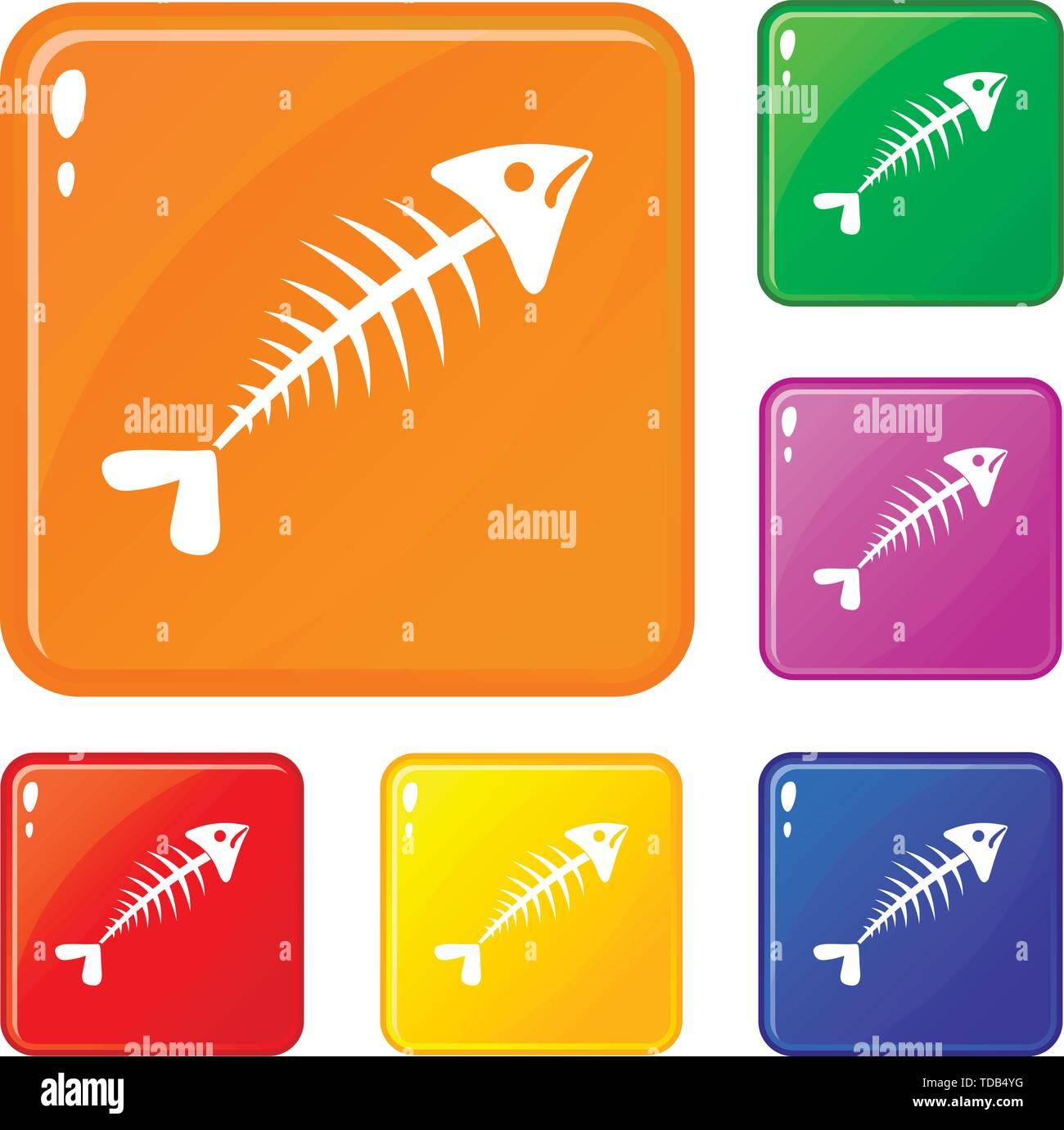 Fish bone icons set vector color - Stock Image