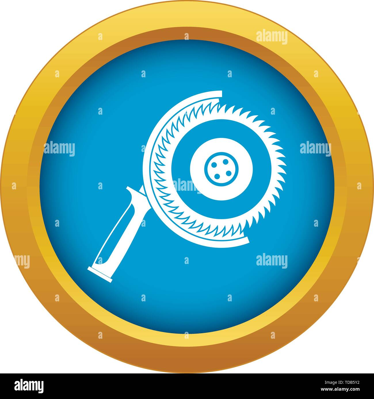 Circle saw icon blue vector isolated - Stock Image
