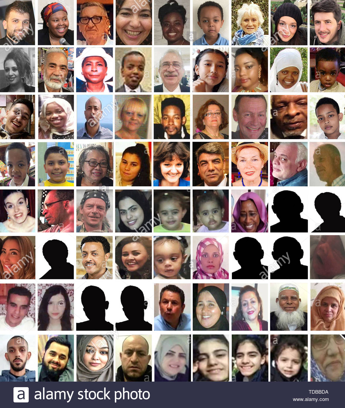 EDITORS NOTE: There are no pictures available for the people shown as a sihouette. BEST QUALITY AVAILABLE Undated handout photos of 72 of the confirmed victims who died in the Grenfell Tower fire. (top row left to right) Mohammad Alhajali, Ya-Haddy Sisi Saye, also known as Khadija Saye, Anthony Disson, Khadija Khalloufi, Mary Mendy, Isaac Paulos, Sheila, Gloria Trevisan, Marco Gottardi, (second row left to right) Berkti Haftom, Ali Jafari, Majorie Vital, Yahya Hashim, Hamid Kani, Jessica Urbano Ramirez, Zainab Deen, Nura Jemal, Jeremiah Deen, (third row left to right) Yasin El-Wahabi, Firdaws  - Stock Image
