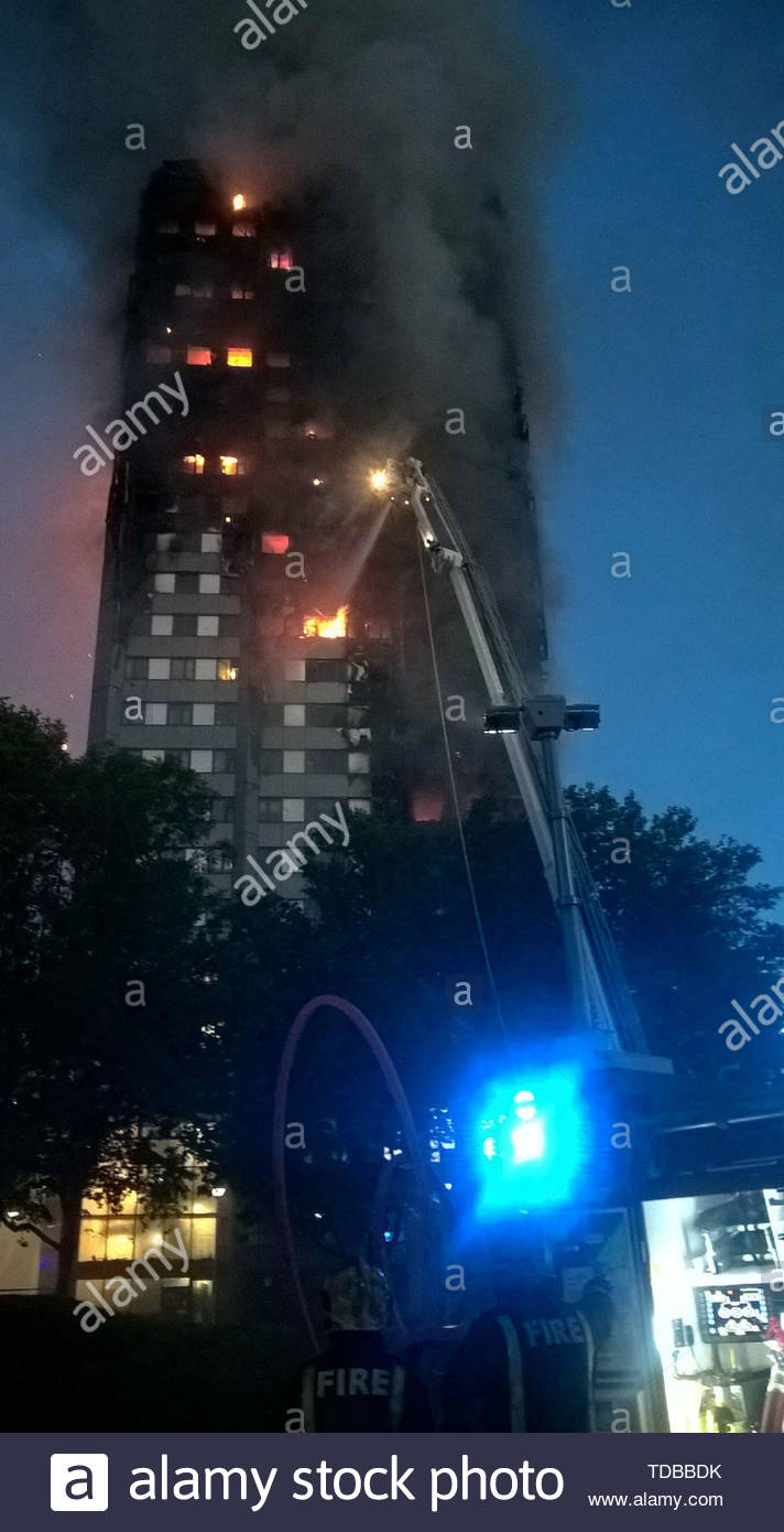 BEST QUALITY AVAILABLE Handout file photo dated 17/06/17 taken by firefighter Brett Loft at the scene of the Grenfell Tower fire in June 2017. Grenfell survivors and families of the 72 victims will come together and remember their loved ones two years after the tower block fire. - Stock Image