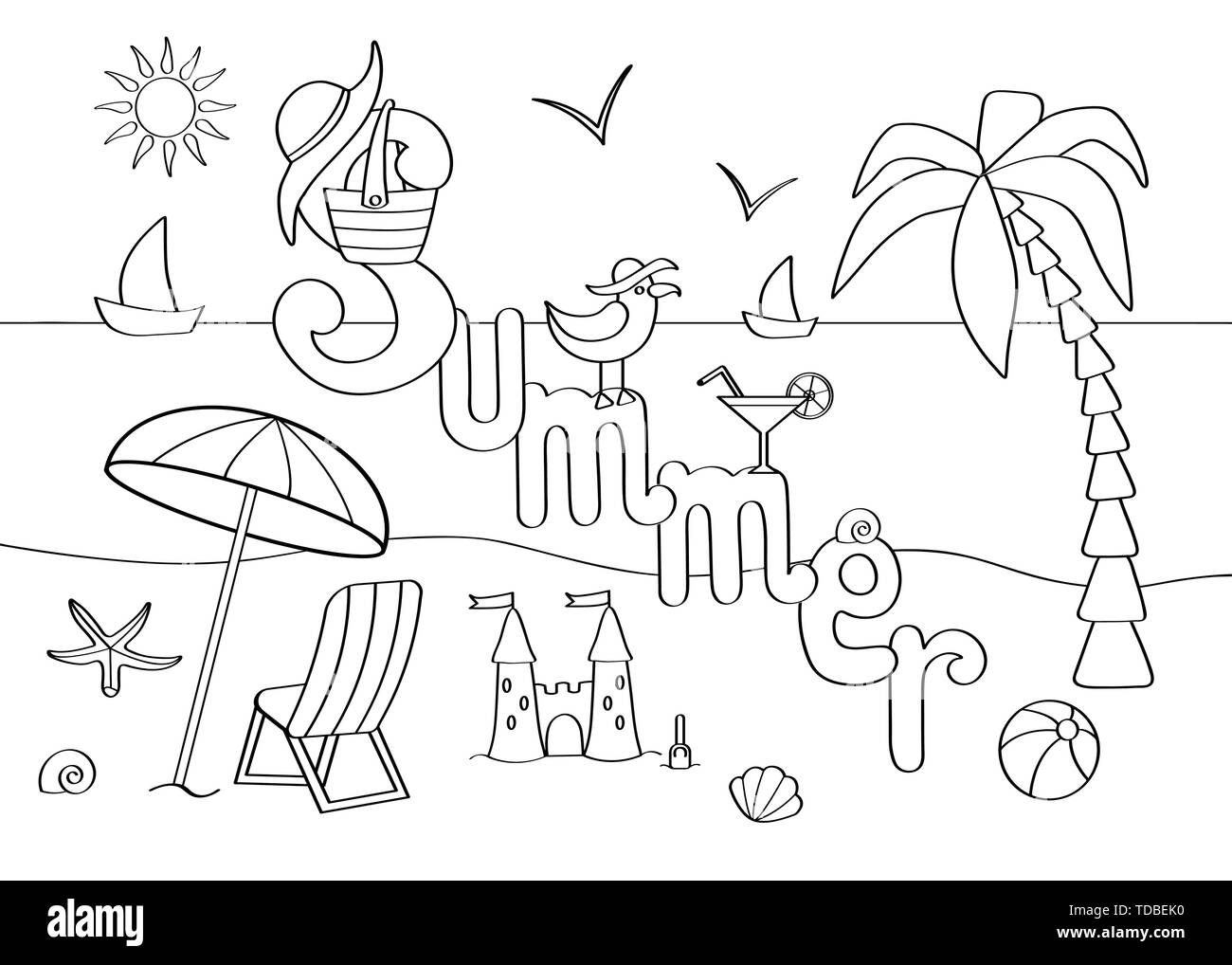 Abstract coloring page on the theme of summer vacation at sea, for