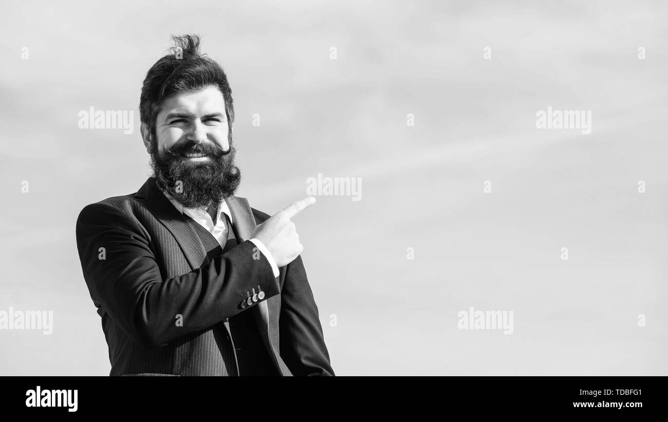 project manager. Businessman against the sky. brutal caucasian hipster with moustache. Mature hipster with beard. project manager career. Future success. formal fashion. Bearded man project manager. - Stock Image