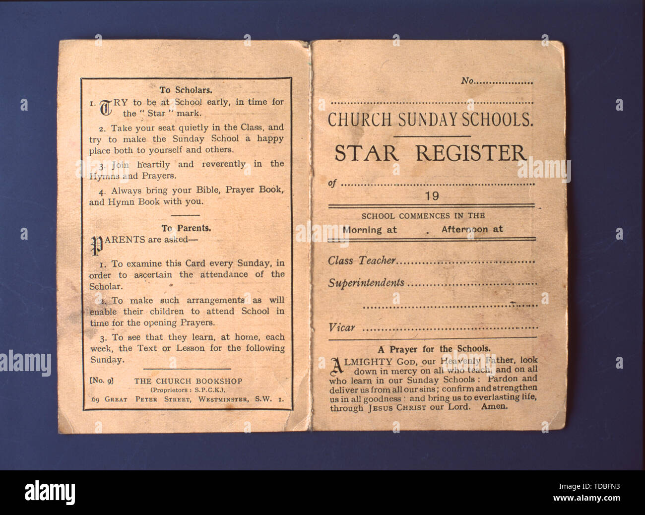 Church Sunday School Star Register as used by The Salvation Army Sunday School, Kirby Street, Poplar, London. 1960. - Stock Image