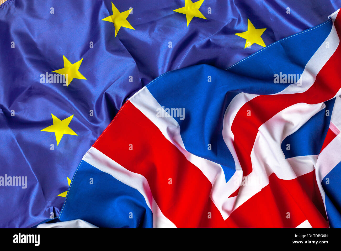 Flags of the United Kingdom and the European Union - Stock Image