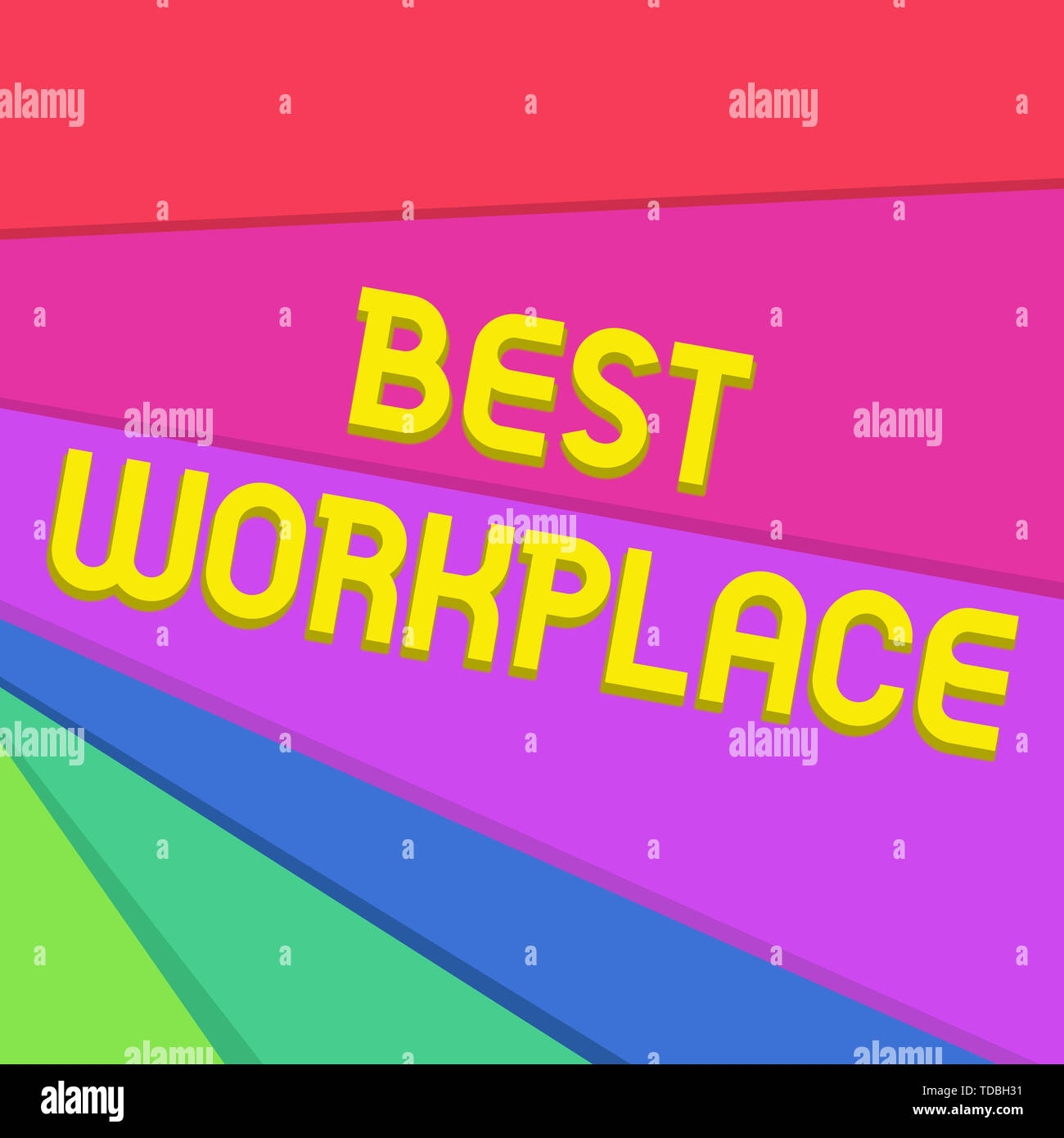 Handwriting text writing Best Workplace. Conceptual photo Ideal company to work with High compensation Stress free Multicolor Sheets of Cardboard Pape - Stock Image