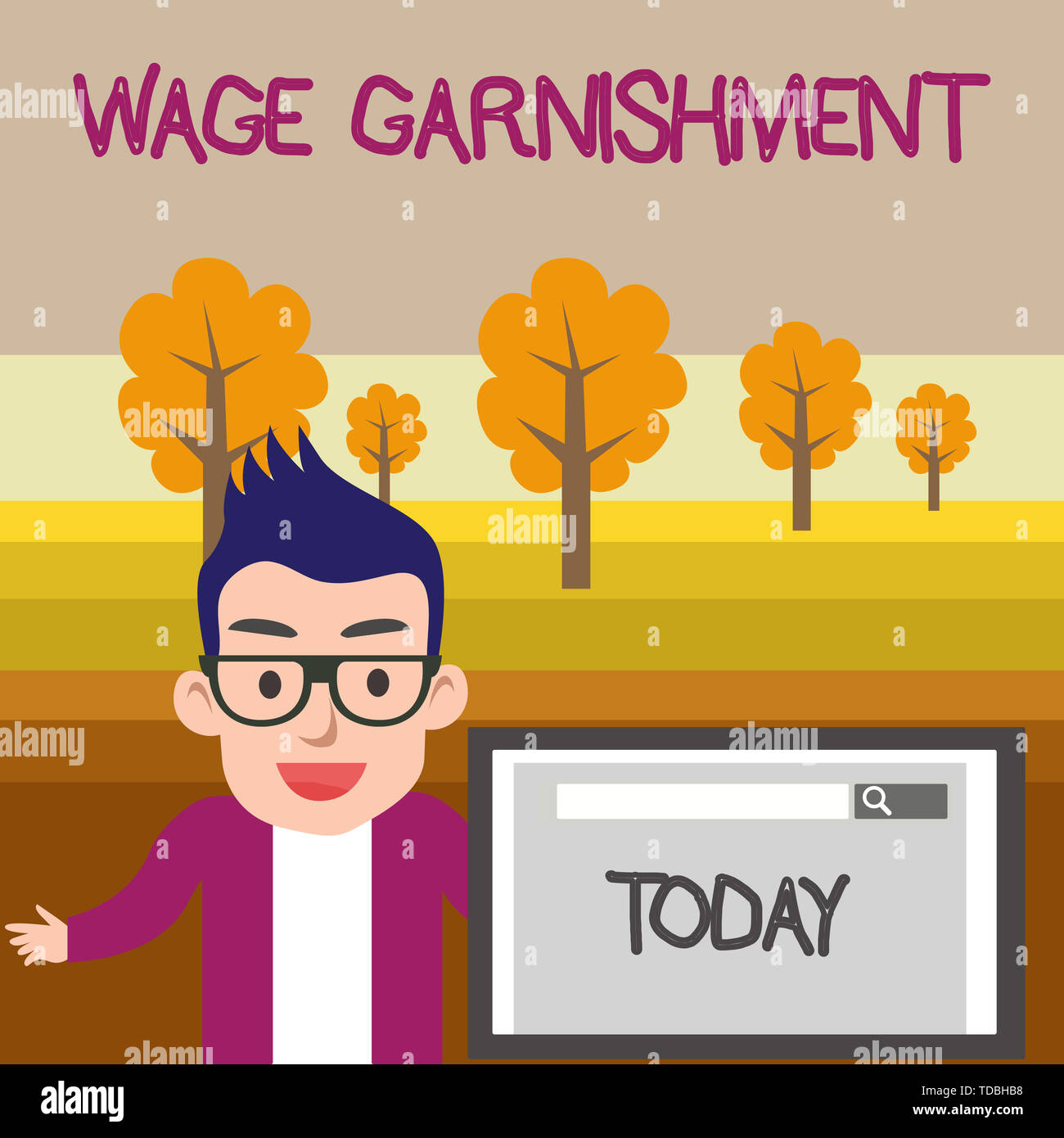 Text sign showing Wage Garnishment. Business photo text Deducting money from compensation ordered by the court Male Speaker Monitor with Search Tool o Stock Photo