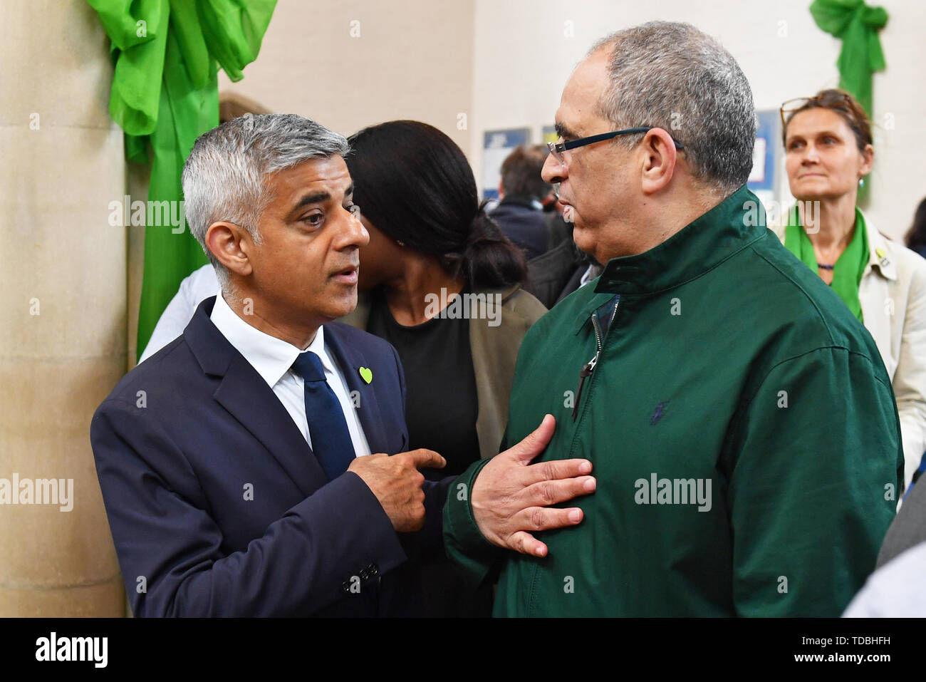 Mayor of London Sadiq Khan attends a service of remembrance at St Helens church, London, to mark the two-year anniversary of the Grenfell Tower block fire. - Stock Image