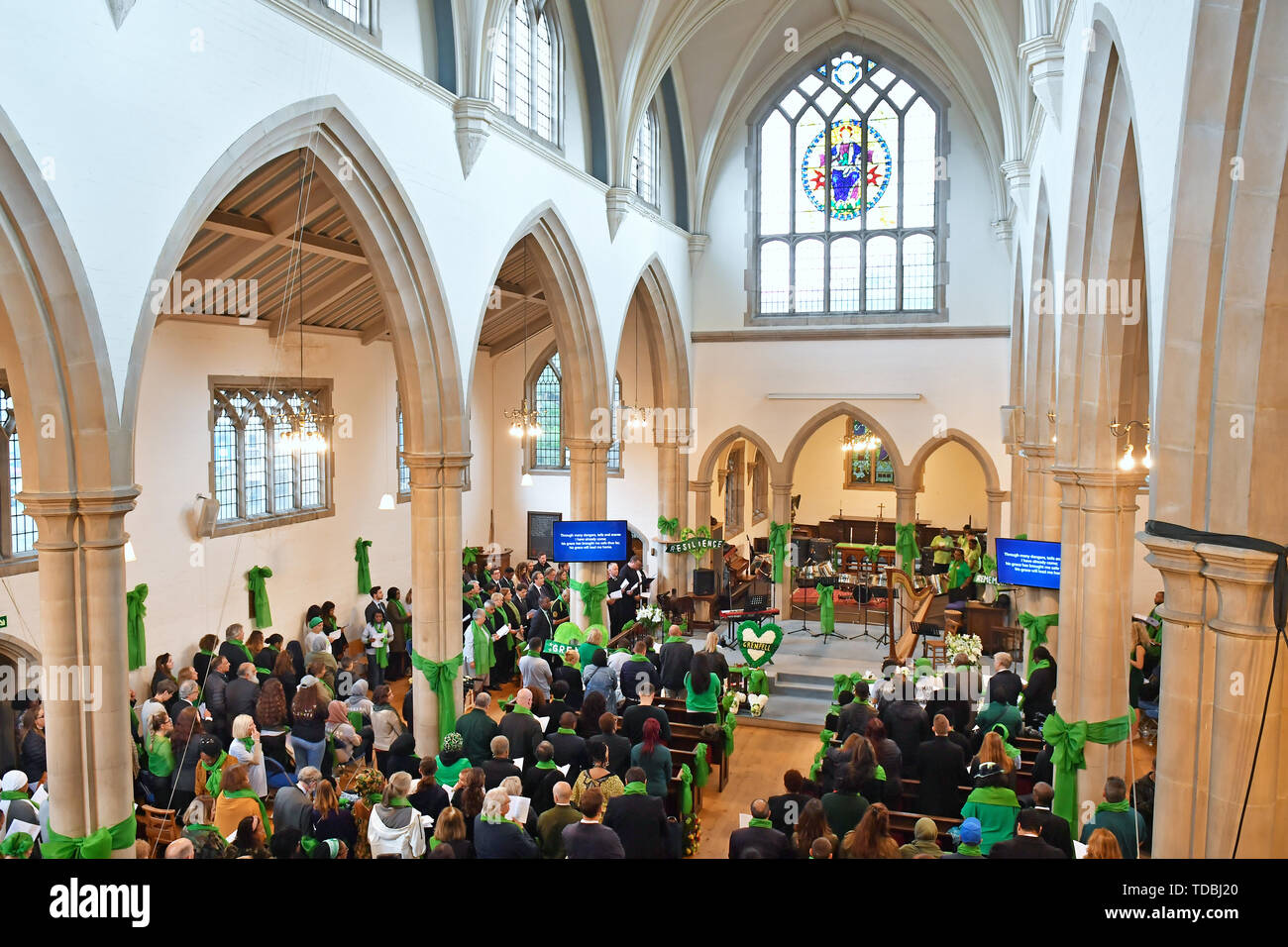 A service of remembrance takes place at St Helens church, London, to mark the two-year anniversary of the Grenfell Tower block fire. - Stock Image