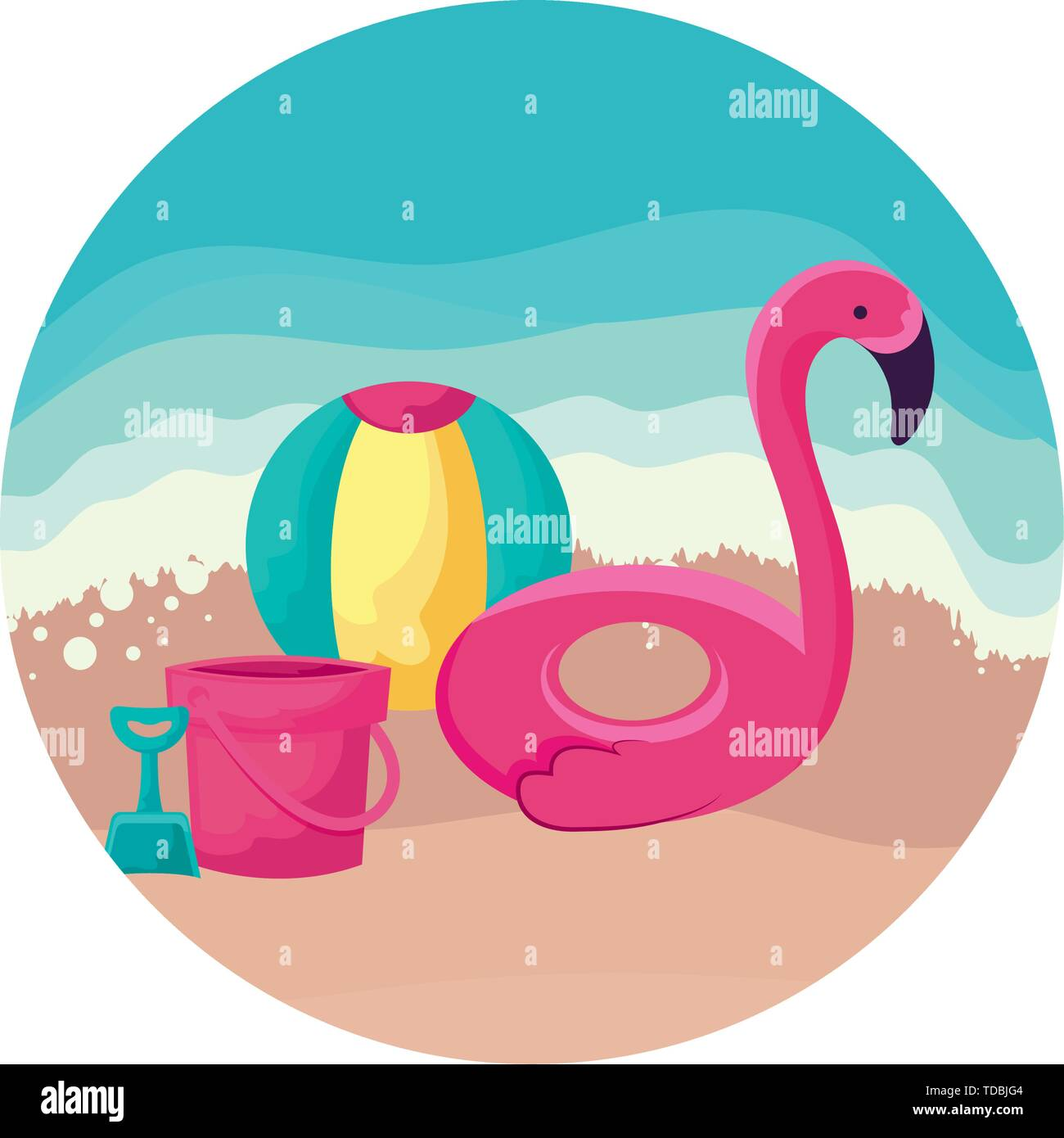 float flemish with ball and bucket in beach vector illustration design - Stock Image