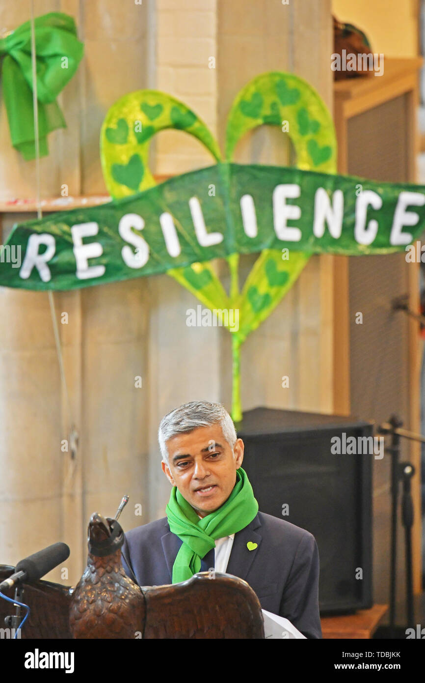 Mayor of London Sadiq Khan speaks at a service of remembrance at St Helens church, London, to mark the two-year anniversary of the Grenfell Tower block fire. - Stock Image