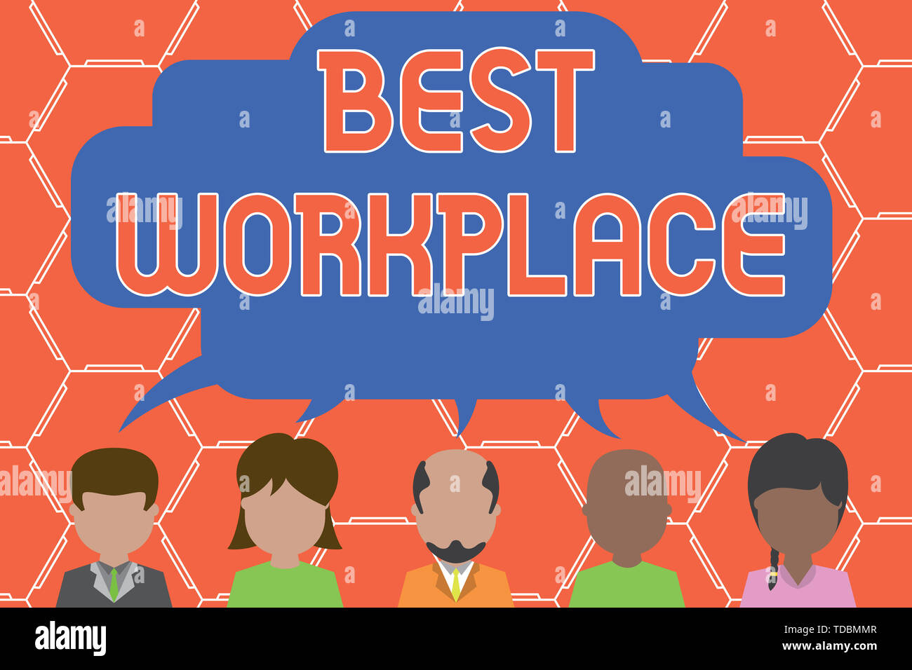 Writing note showing Best Workplace. Business concept for Ideal company to work with High compensation Stress free Five different persons sharing spee - Stock Image