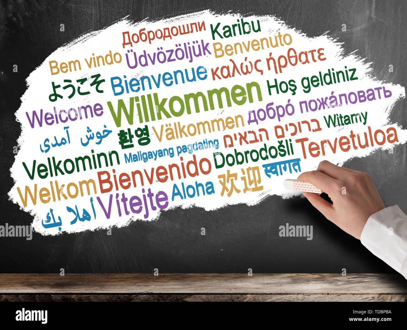 WELCOME in different languages word cloud on chalkboard - Stock Image