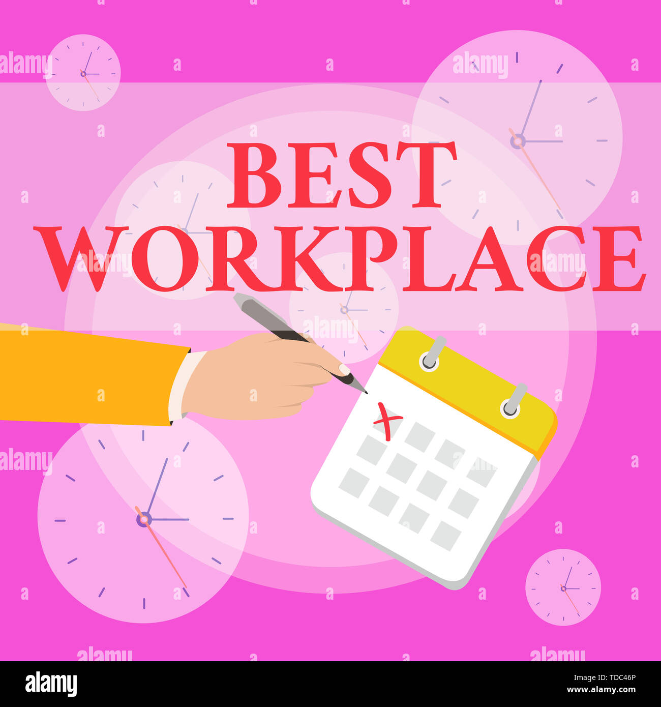 Writing note showing Best Workplace. Business concept for Ideal company to work with High compensation Stress free Formal Suit Crosses Off One Day Cal - Stock Image