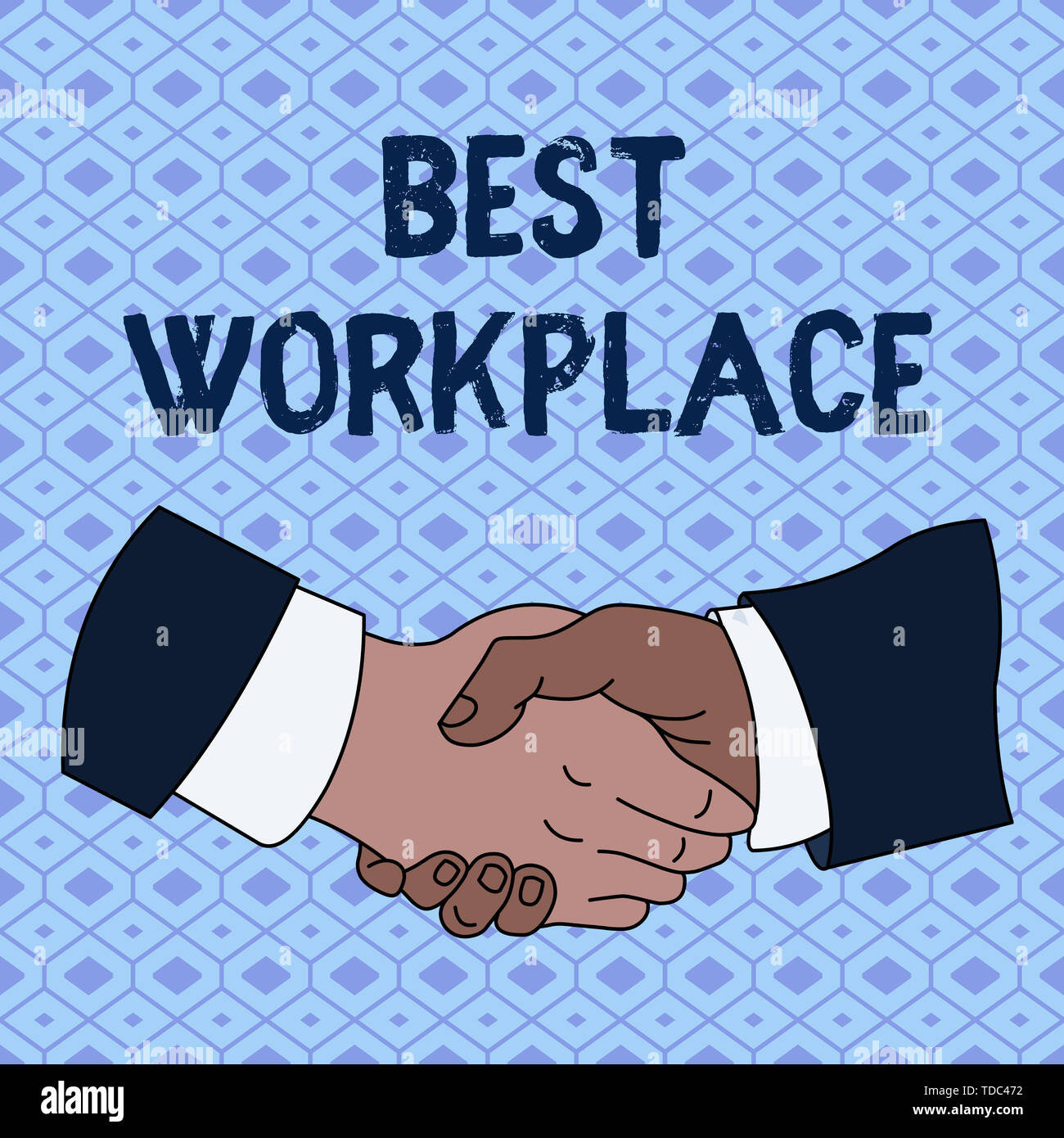 Handwriting text Best Workplace. Conceptual photo Ideal company to work with High compensation Stress free Hand Shake Multiracial Male Business Partne - Stock Image