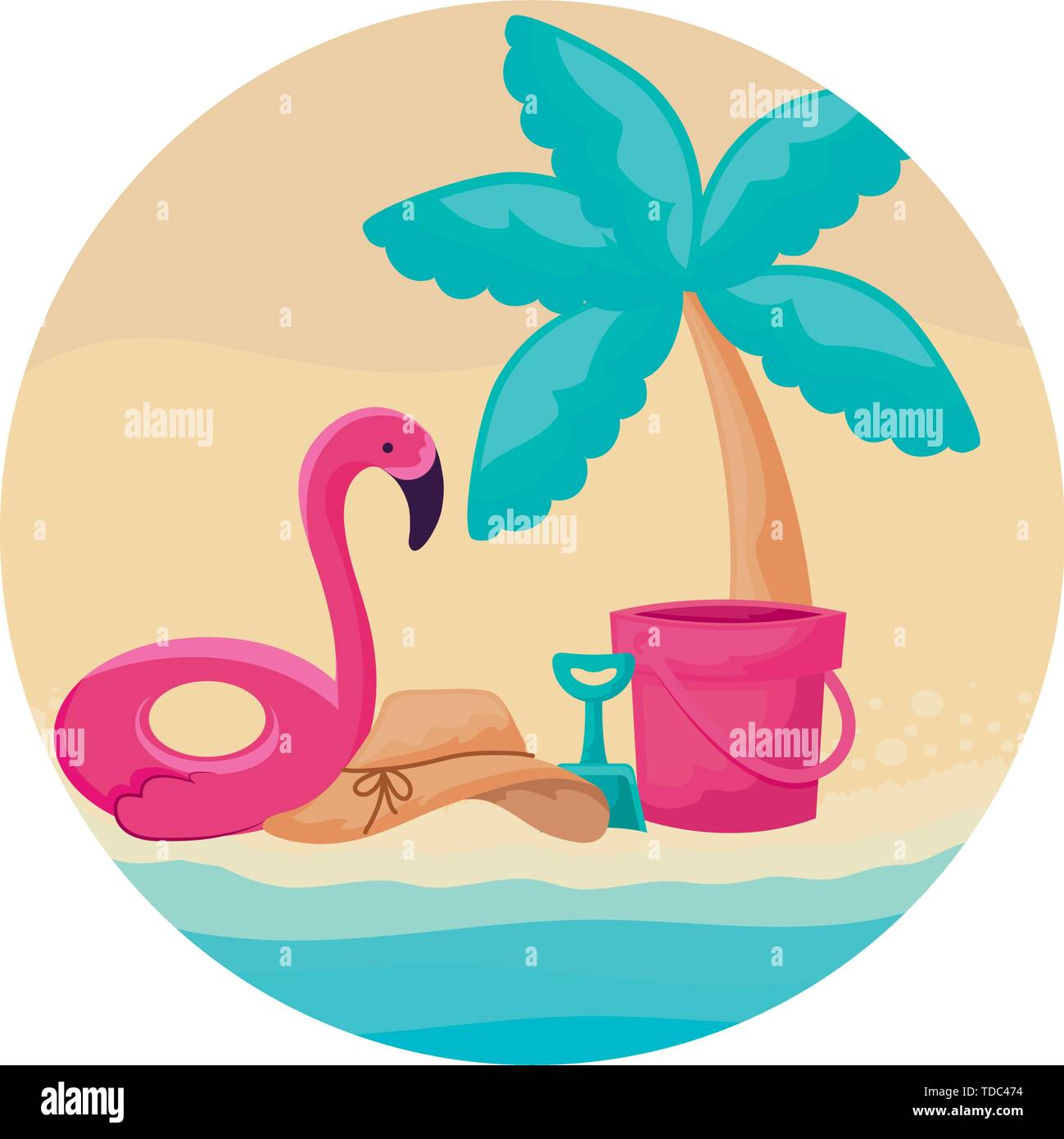 float flemish with palm tropical and icons vacation in beach vector illustration design - Stock Image