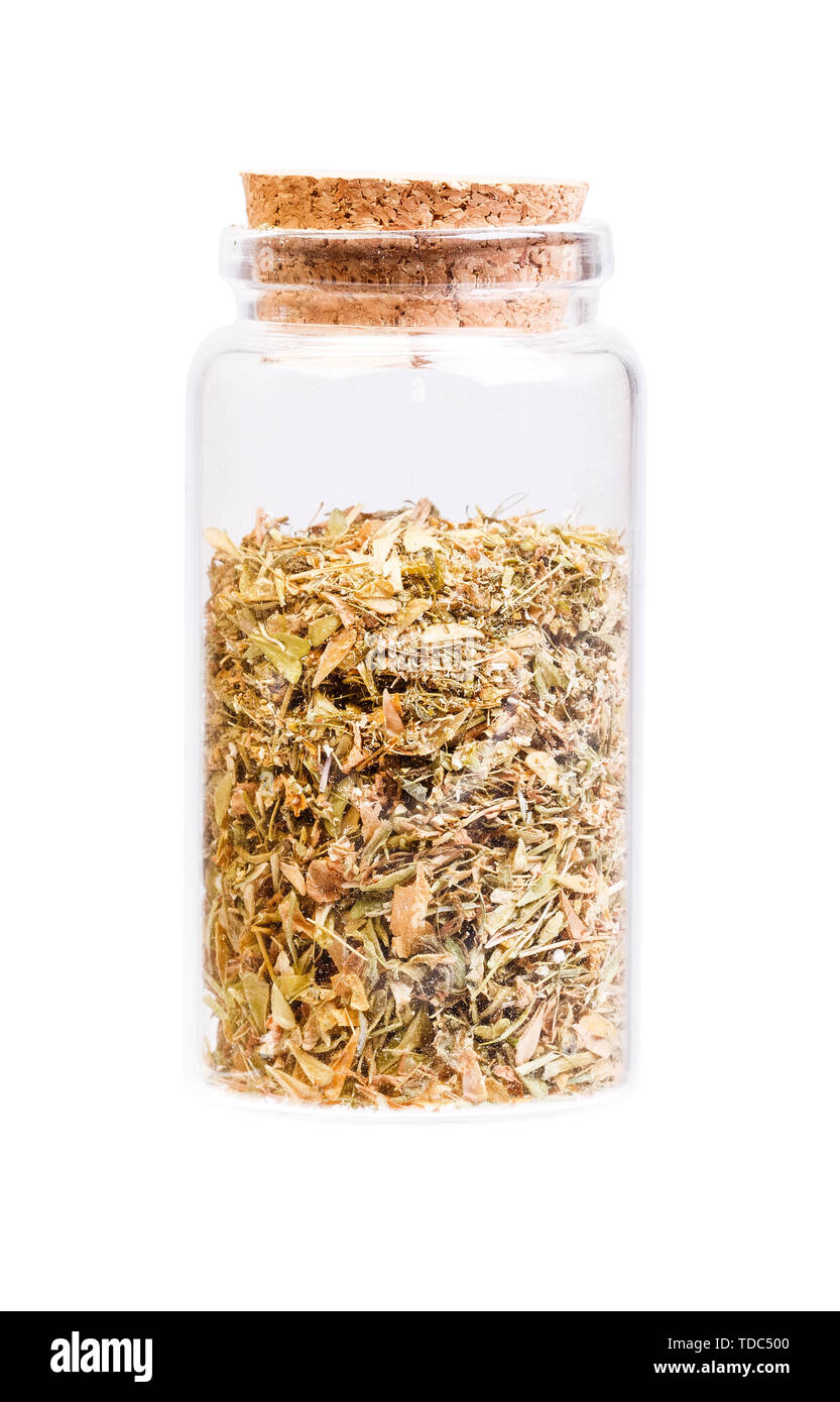 Capsella bursa-pastoris in a bottle with cork stopper for medical use - Stock Image