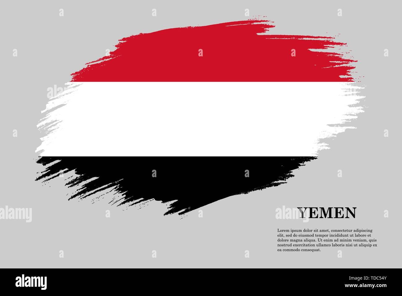 Brush stroke styled flag of Yemen . Template for your design - Stock Vector