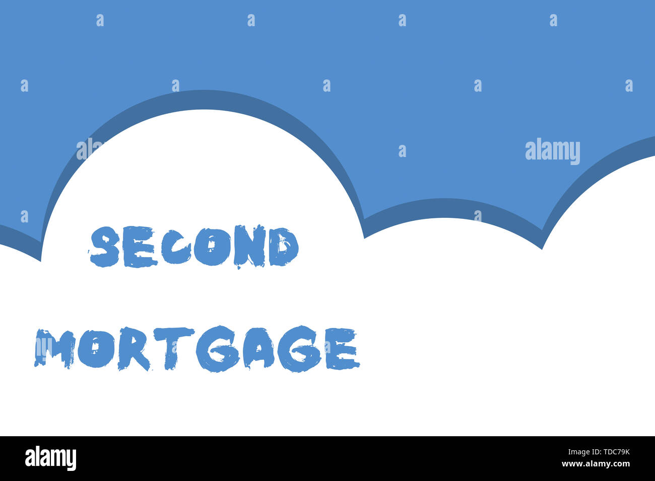 Writing note showing Second Mortgage. Business concept for lien on property which is subordinate to more senior one Half cloud blue sky landscape Seam - Stock Image