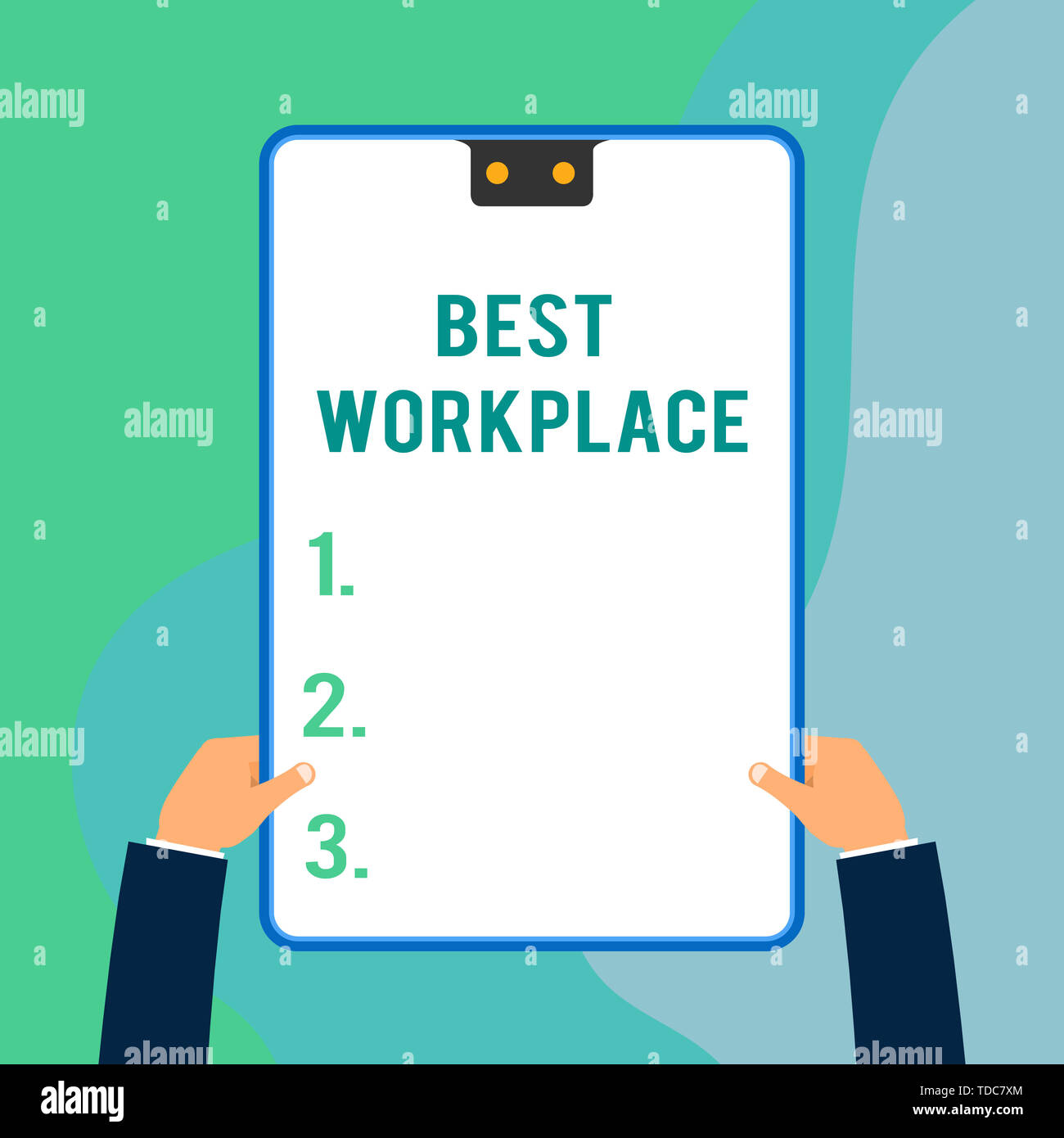 Conceptual hand writing showing Best Workplace. Concept meaning Ideal company to work with High compensation Stress free Two executive male hands elec - Stock Image