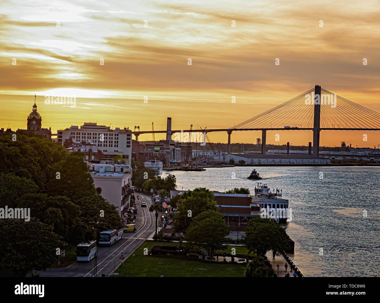 The Sydney Lanier Bridge across the Savannah River - Stock Image