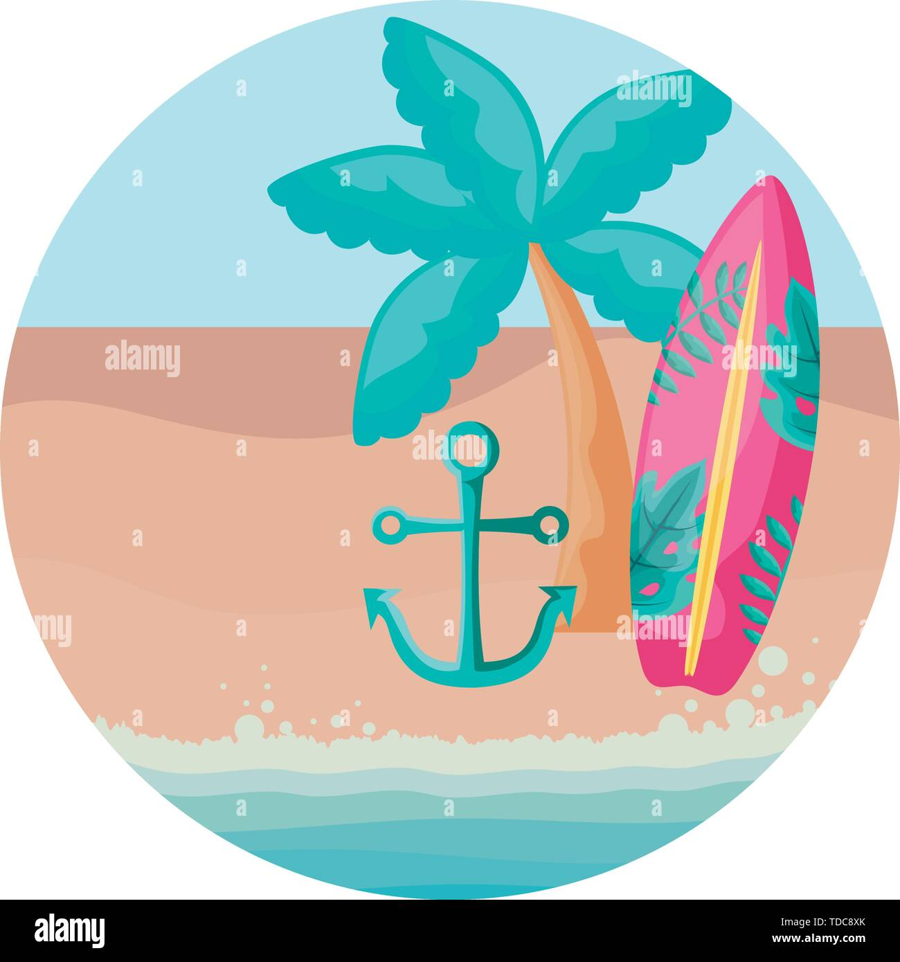surfboard with tropical palm and anchor in beach vector illustration design - Stock Image