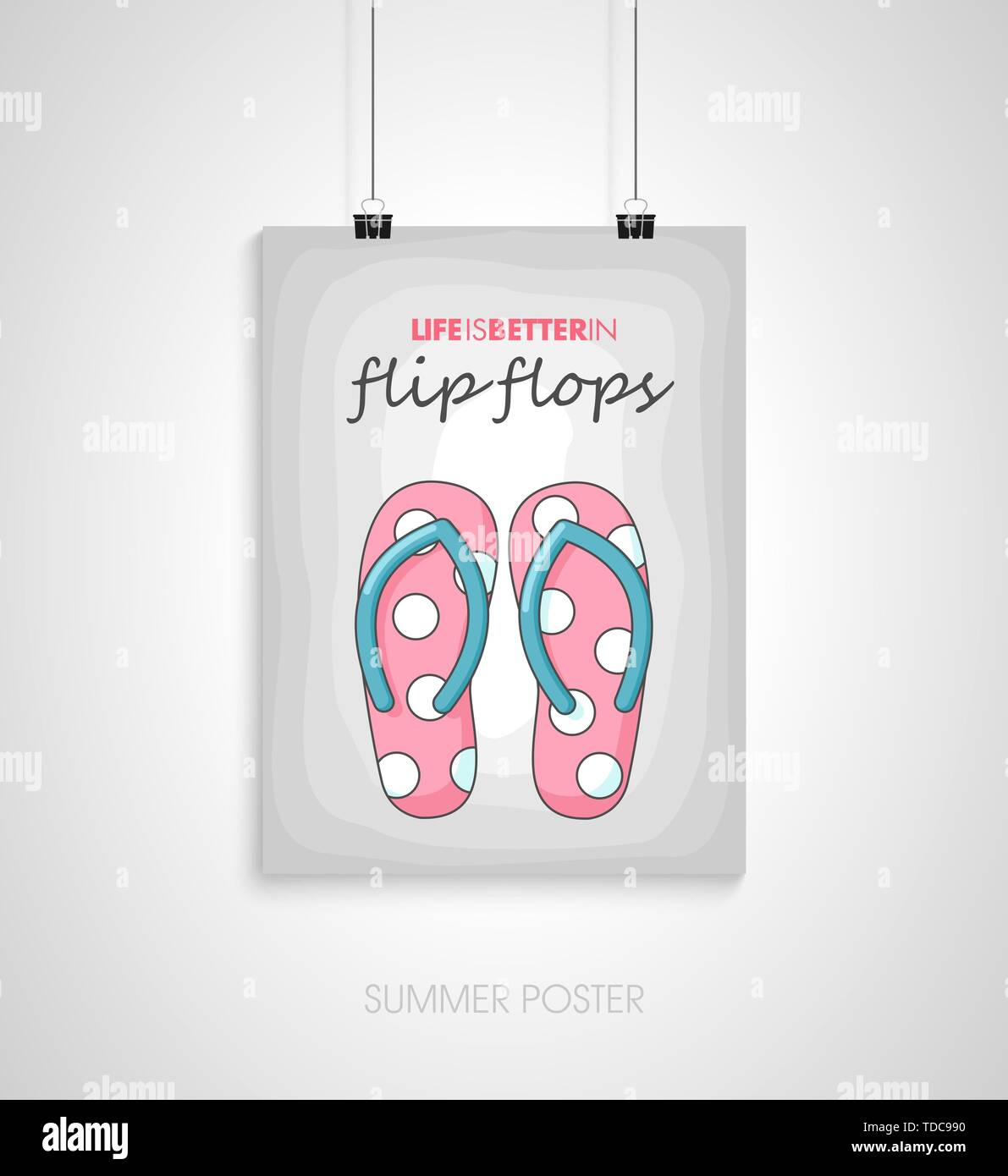 Summer flyer card. Life is better in flip flops. Journal cards. Vector illustrations for t-shirt, poster prints. Holiday, travel, vacation theme - Stock Image
