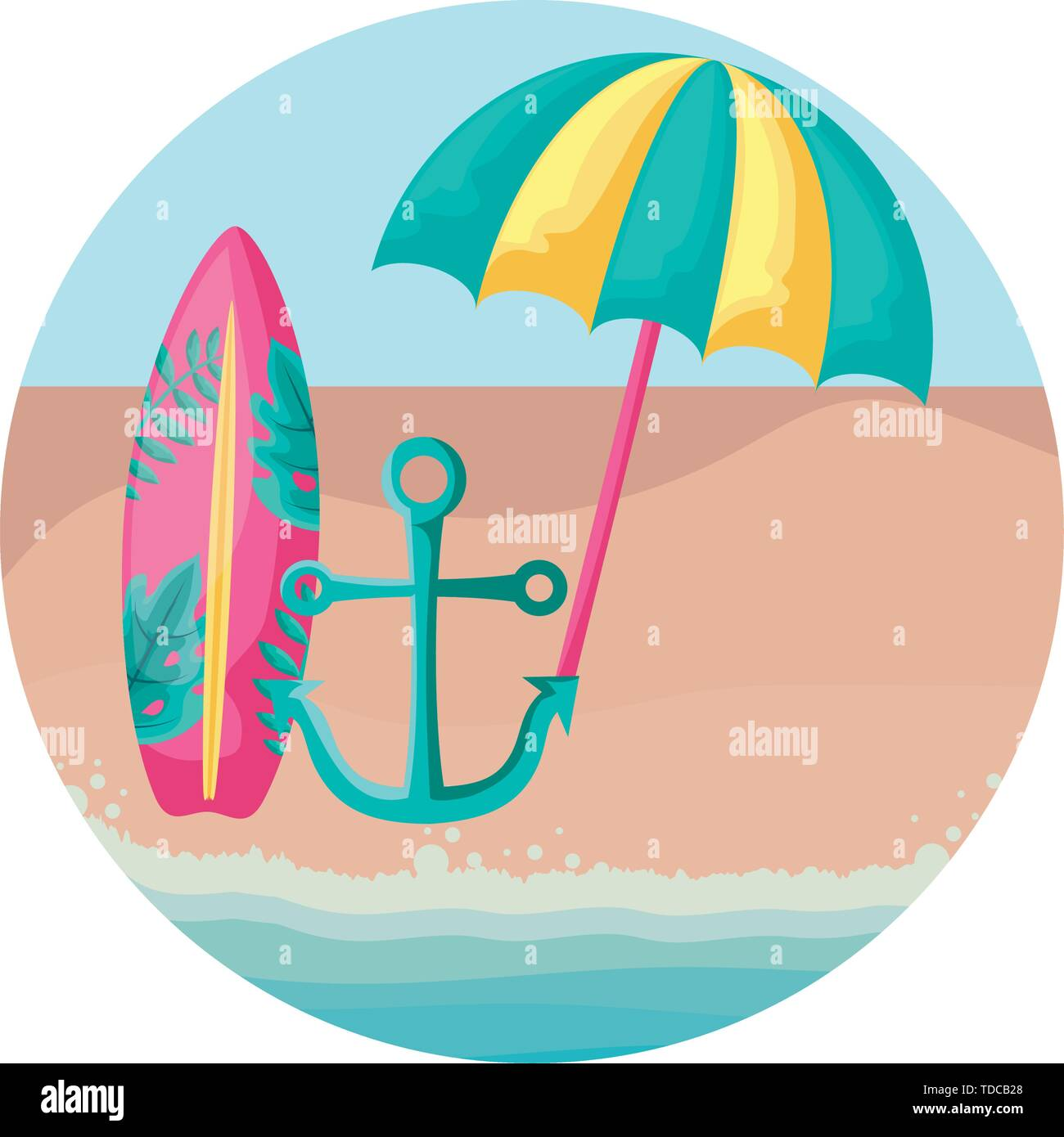 surfboard with umbrella open and anchor in beach vector illustration design - Stock Image