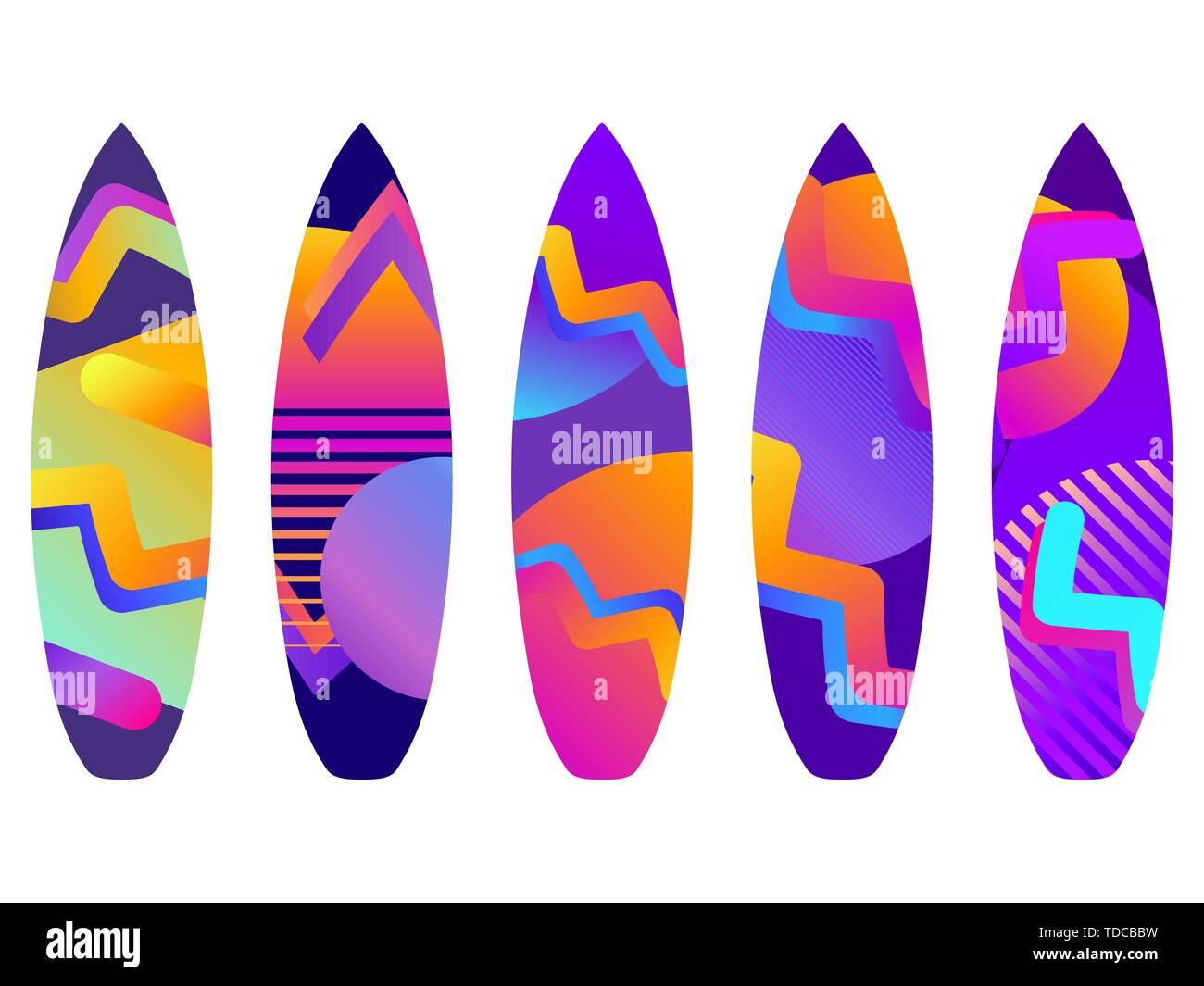 Surfboards on a white background. Types of surfboards with a pattern. Vector illustration - Stock Image