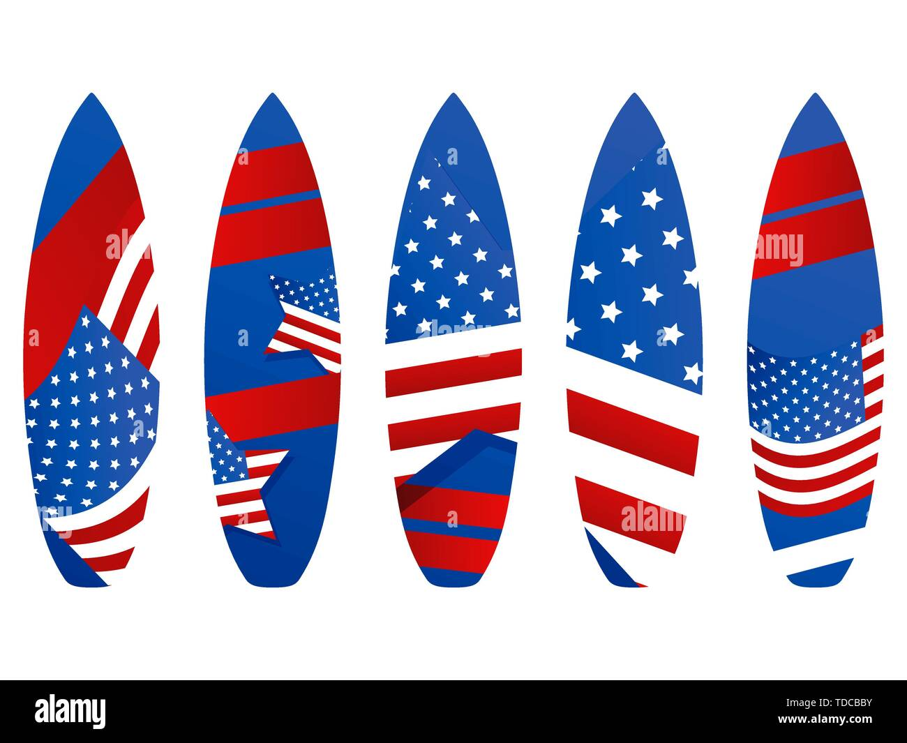 Surfboards with USA flag on a white background. Types of surfboards with a pattern. Vector illustration - Stock Image