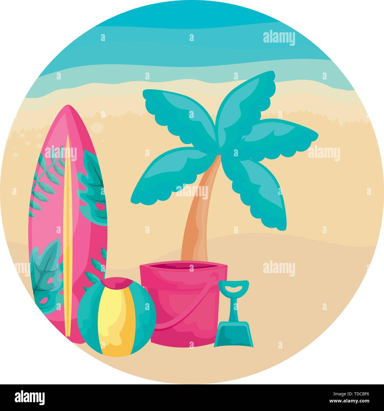 surfboard with tropical palm and icons in beach vector illustration design - Stock Image