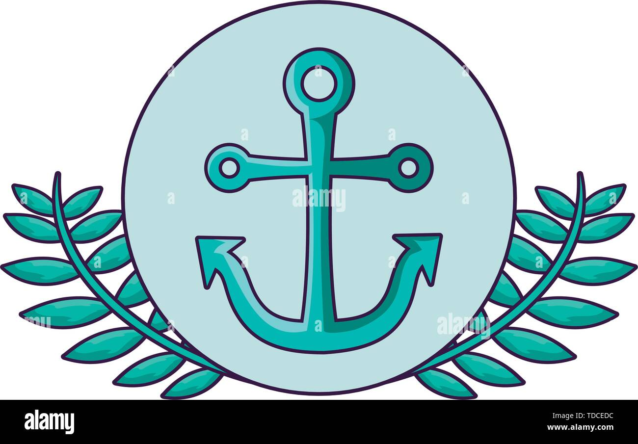 anchor marine in frame circular with leafs vector illustration design - Stock Image