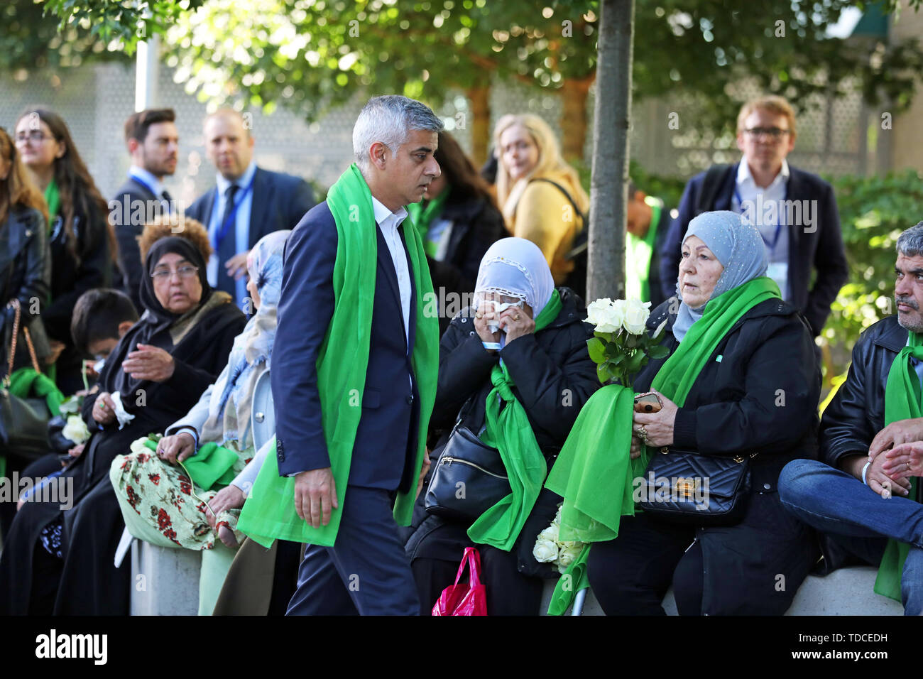 Mayor of London Sadiq Kahn arrives outside Grenfell Tower, London, to meet family and friends ahead of the wreath laying ceremony, which will mark the two-year anniversary of the tower block fire in memory of the 72 people who lost their lives. - Stock Image