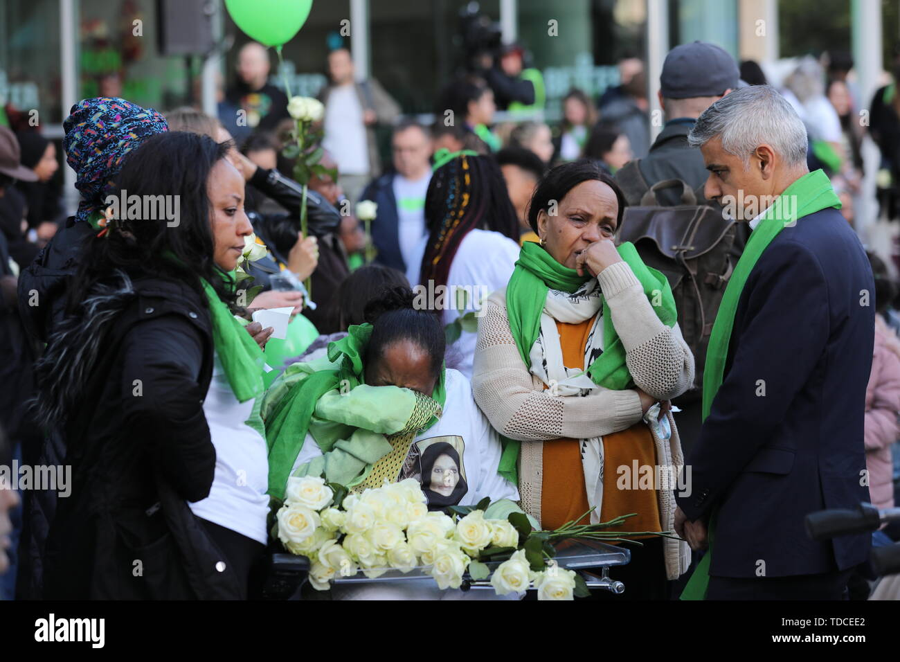 Mayor of London Sadiq Kahn arrives outside Grenfell Tower, London, to meet family and friends ahead of the wreath laying ceremony, which marks the two-year anniversary of the tower block fire in memory of the 72 people who lost their lives. - Stock Image