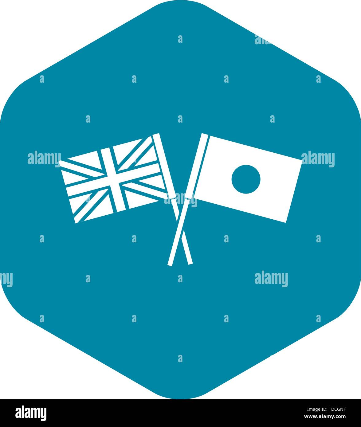 UK and Japan flags crossed icon, simple style - Stock Image
