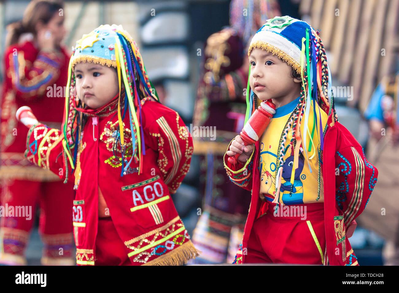 Peruvian Boy in traditional costume near Cuzco Stock Photo
