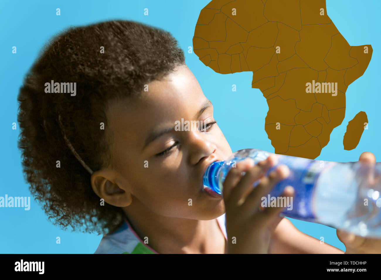 The problem with drinking water supplies on the African continent. Millions of people suffer from thirst in developing countries. - Stock Image