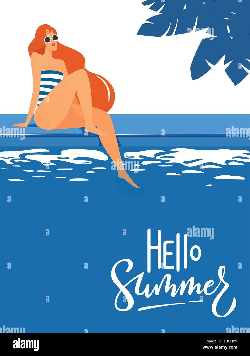 vector cute Hello summer poster with a lovely lady.  - Stock Image