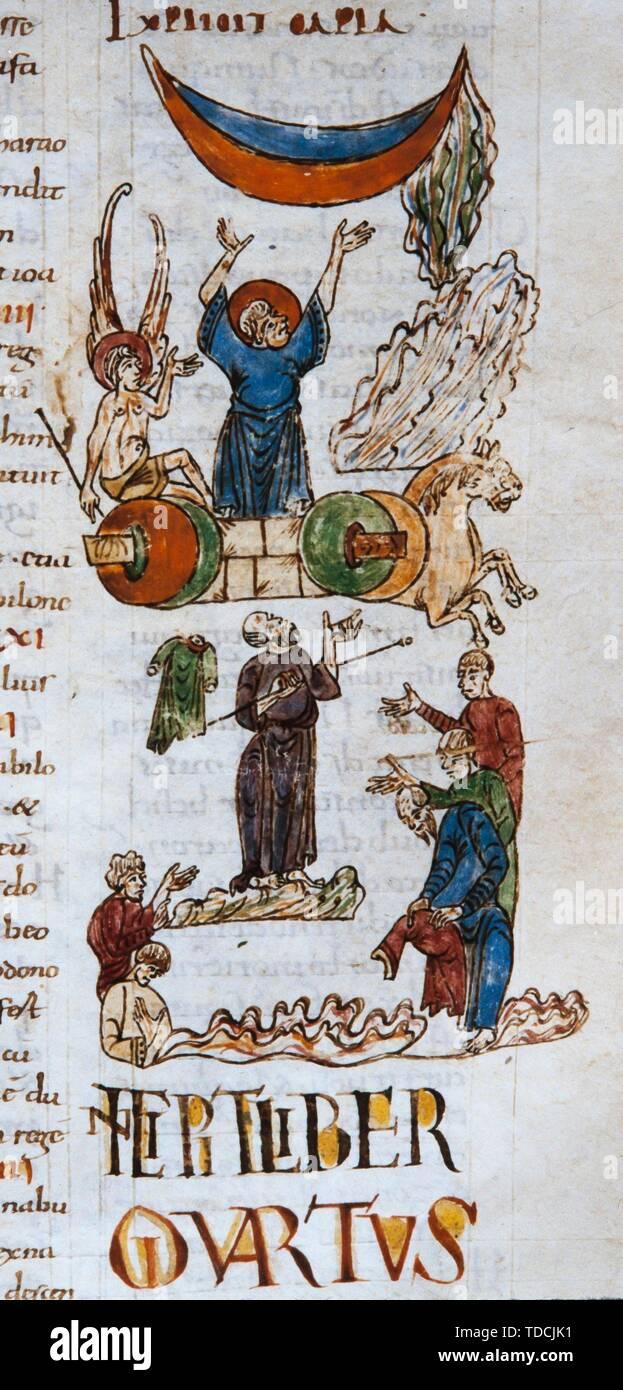 Biblia de Sant Pere de Rodas, Elías y el carro de fuego (vol. 2, hoja 48r), siglo XI. Museum: Bibliothèque nationale de France, Paris. - Stock Image