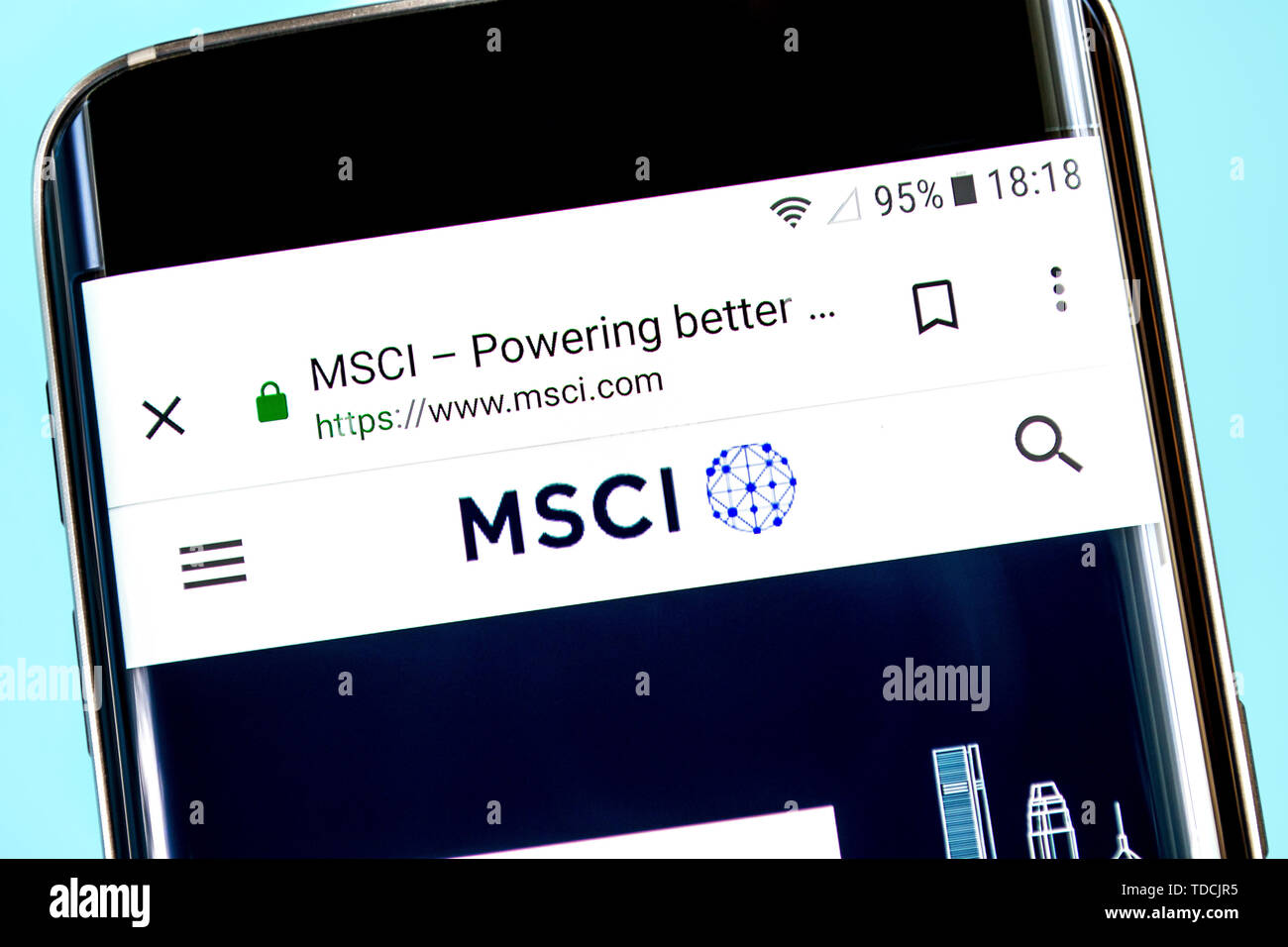 Berdyansk, Ukraine - 8 June 2019: MSCI website homepage. MSCI logo visible on the phone screen, Illustrative Editorial - Stock Image