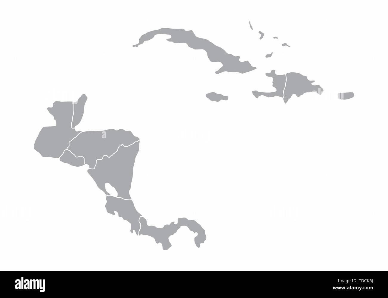 Central America gray map isolated on white background Stock ...